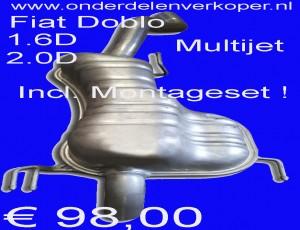 Uitlaat Einddemper Fiat Doblo 1.6D en 2.0D BUS en Multijet