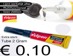 OPRUIMING : Tube VELPON seconde lijm 2 Gram per tube