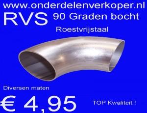RVS bocht 90 graden Roestvrijstaal RVS = 304
