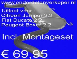 Uitlaat Einddemper Fiat Ducato 2.2 Citroen Jumper 2.2 Peugeot boxter 2.2