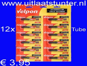 12 x Tube`s VELPON secondelijm (2 gram per tube) (No. 28)